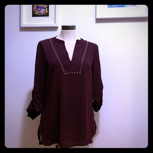 Stylish maroon blouse with rose gold detail